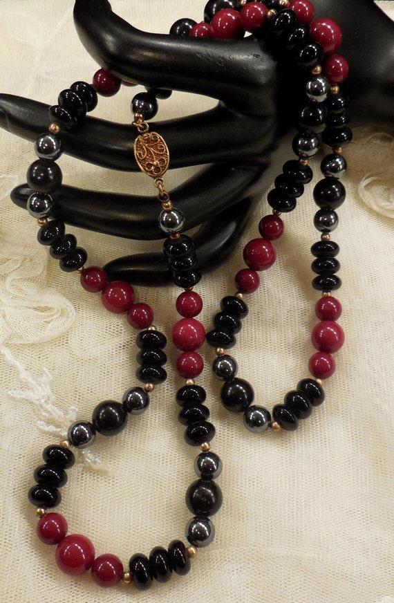 Red Hematite Beads Vintage Strand ...