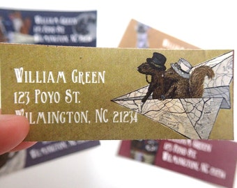 30 Steampunk Woodland Address Labels: Squirrel, fox, rabbit, raccoon, hedgehog