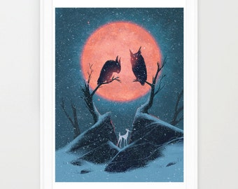 Alver and the Owls Print