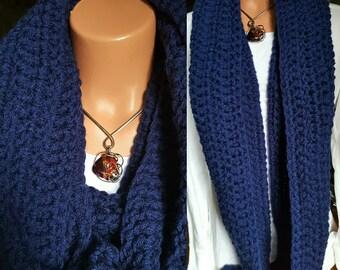 Infinity scarf, Chunky Crochet Scarf, Dark Blue Scarf, Infinity crochet scarf, atumn fashion
