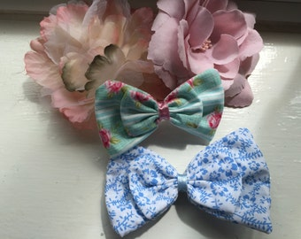 Set of 2 girls ladies hair bow clips crocodile clips