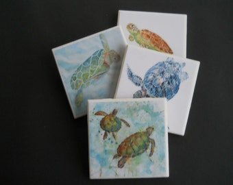 Sea Turtles ~ Ceramic Tile Coasters ~ Aquatic Animals ~ Drink Coasters ~ Ceramic Tile Coasters ~ Housewarming Gift ~ Turtle Lover Gift
