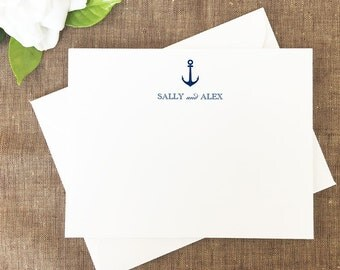 Anchor Thank You Note Cards, Anchor Personalized Stationery, Set of 25 Cards