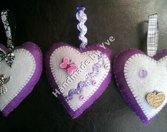Felt Hanging Hearts (purple)