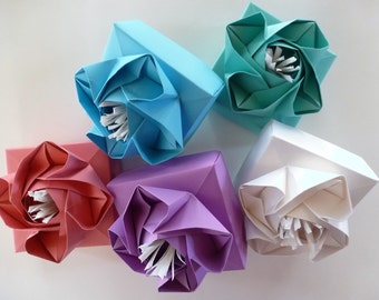 Origami Rose Boxes in sweet spring hues with scallop edge tissue to match - gorgeous!