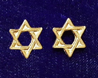Gold Star Of David. Hanukkah Gifts. Gold David Star Stud Earrings. Gold Stud Stars In Handmade. Gold Jewish Star Earrings. FREE SHIPPING!