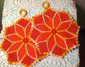 Set of two Vintage Hand Crocheted Hot Pads