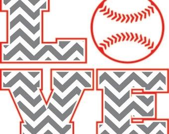 LOVE Baseball or Softball Design digital download