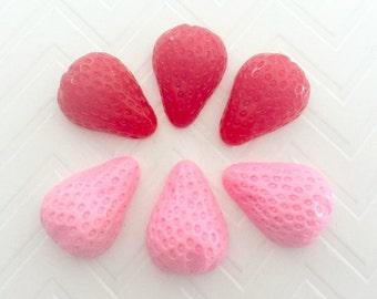 17mm Strawberry Resin Cabochon 6 pcs
