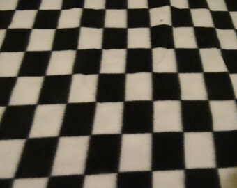 Black and White Checked Fleece Fabric