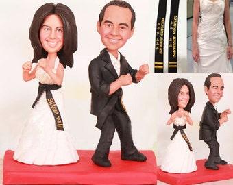 Taekwondo Martial Arts Wedding Cake Topper - Personalised wedding cake topper  (Free shipping)