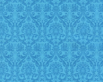 Damask Tapestry C4186 in Turquoise or Purple Cotton Fabric by Timeless Treasures! [Choose Your Cut Size]