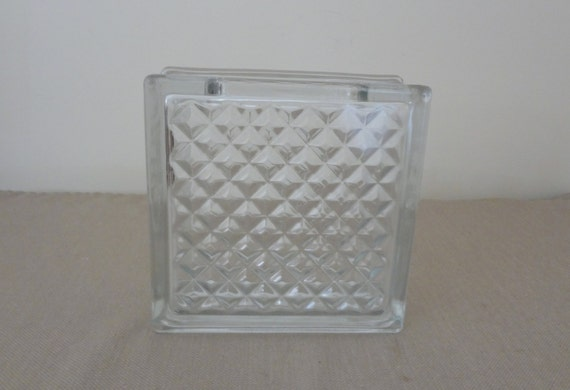 Decorative clear glass block vase for use as