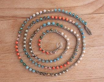Khaki  and Pastel Tones  Crocheted Necklace/Five Wrap Bracelet , Boho Chic Bracelet