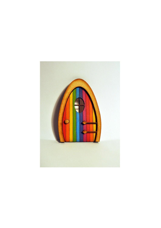 Fairy door 3d rainbow elf wooden laser cut fairies pixies for Rainbow fairy door