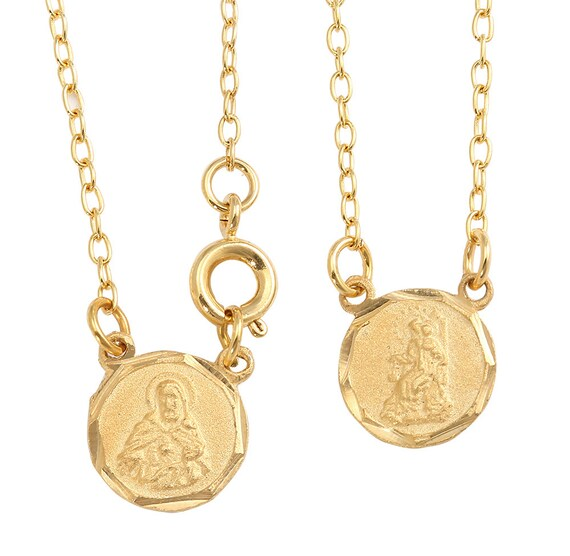 Gold Scapular Necklace: Mini Round Gold Plated Scapular With Stamped Medals