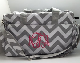 Monogram Diaper bag, Girl diaper bags, baby girl diaper bag, monogram diaper bag, baby boy shower gift, personalized baby, grey chevron