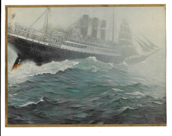 """Ship in a Storm 1922 Print Artist signed by """"Edgar Wittmack"""" Attractive 8 X 10"""