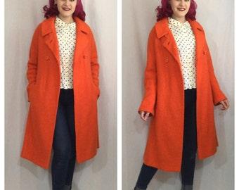 Vintage 1960's Orange Wool Coat