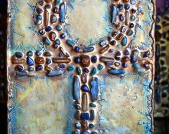 Ankh of Love Original Encaustic Mixed Media Artwork with Kyanite, citrine, Lapis Lazuli, Jade & Quartz by Deprise