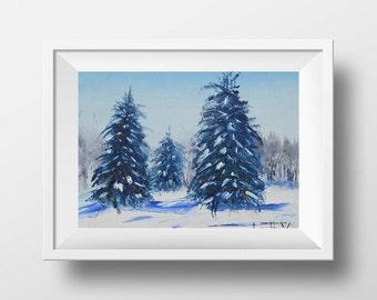 Lake Tahoe Print, Giclee Print, Snowy Mountain Print, Lake, Winter, Snow, Tahoe, California, Fine Art Print, Art Print, Landscape Painting