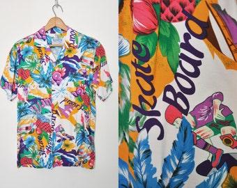 Vintage Skateboard and Surfboard Rayon Hawaiian Shirt