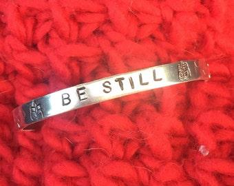 Be Still-Inspirational custom stamped bracelet