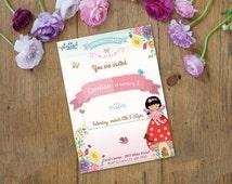 Flowers Invitation Digital Customizable Printable Birthday Party Spring Birds Fairy Land Butterfly Mushroom Nature Garden Owl