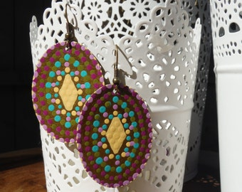 Hand Painted Brass Mandala Earrings