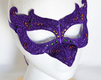 Purple Raven Embroidered Lace Mask