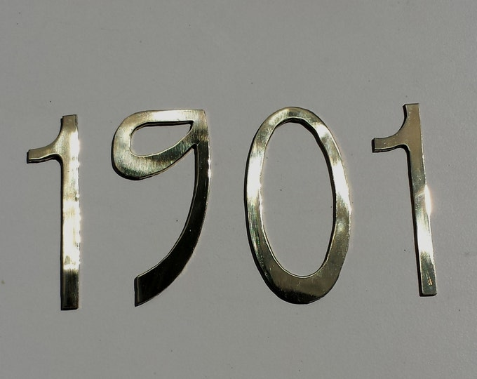 "Pewter Art Nouveau metal house numbers 4 x 6""/150mm high in polished or hammered finish o"