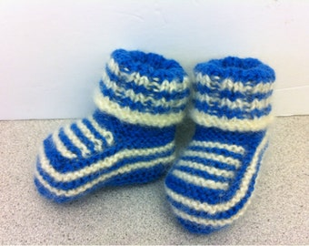 Hand Knitted Blue and White Wool Baby Boy Booties.Knit baby boy booties. Knit baby socks.Knitted baby socks.Knitted baby clothing.