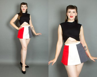 Vintage 60s Color Block Micro Mini Skirt with Panties | 1960s Striped Knit Wool Blend Mod Tennis Skirt (small)