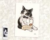 Custom Pet Portrait, watercolour pet portrait, pet art, bespoke pet art, cat, cat artwork, cat portrait, dog picture, cat lady, cat drawing
