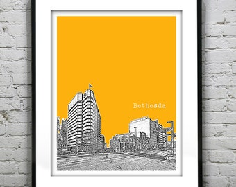 Bethesda City Skyline Print Maryland MD