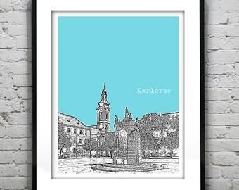 Karlovac Croatia Skyline Poster Art Print