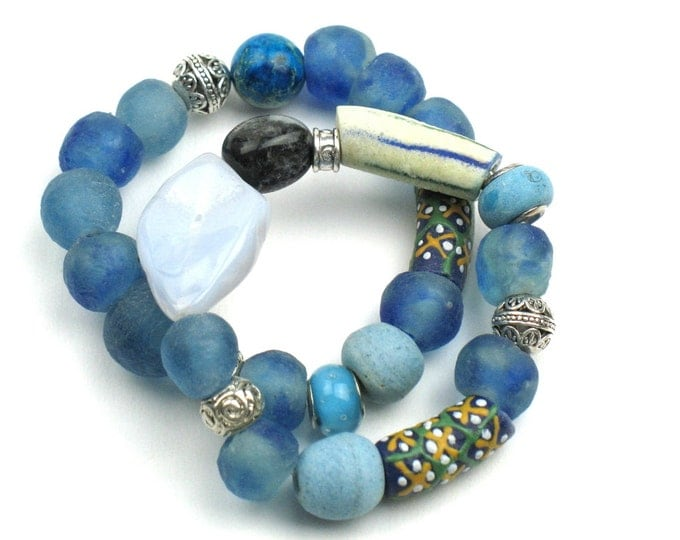 Chunky Stretch Bracelet in Blue with Chalcedony Slice, Amazonite and African Recycled Fair Trade Beads