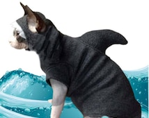 Shark Costume  Kitten Shark Cat Sweater Only, Hat sold separately.  Shark Week, Cat Costume Halloween Sphynx Clothes Dog Clothes Pet Costume