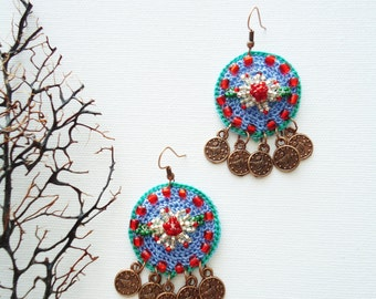Crochet beaded earing, Handmade beadwork earings,  Blue crochet earings, handmade earings, gift for her, valentine's day gift