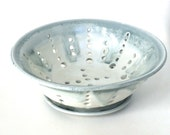 Large Steel Blue and White Berry Bowl and Saucer