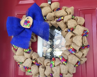 Burlap Autism Awareness Wreath Ryan's Wreath puzzle piece wreath 20 inches