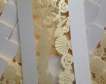 Beach Wedding Order of Service/Ceremony Shell Laser Cut Pocket