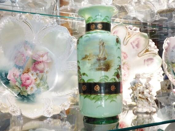 Bristol Glass Vase / 1800s Victorian Opaline