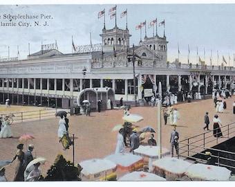 Steeplechase Pier, Atlantic City, NJ Photo Postcard, 1914