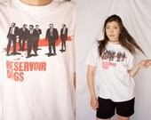 RESERVOIR DOGS 90s Movie T Shirt White Graphic Tee Crew Neck Short Sleeve 1990s Retro Hipster Large L