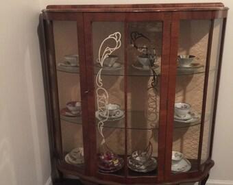 Vintagr Walnut Curio Cabinet English 1940s ~ Vintage Curio Cabinet