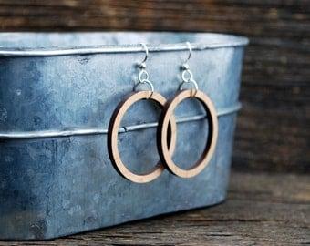 Wooden Hoop Earrings - Sterling Silver