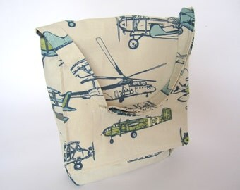Vintage Airplane and Helicopter Child Messenger Bag