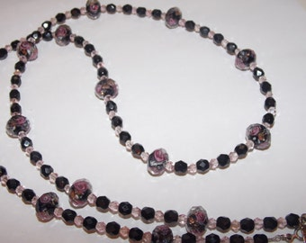 Black and Pink Floral Lampwork with Black Czech Glass and Pink Crystal Necklace