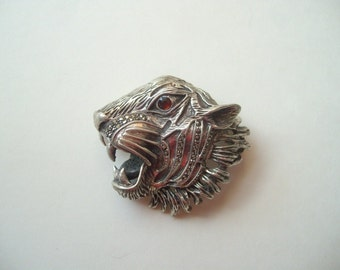 Vintage sterling silver marcasite tiger brooch, tiger's head brooch, big cat pin, wild cat brooch, large tiger profile, heavy silver cat pin